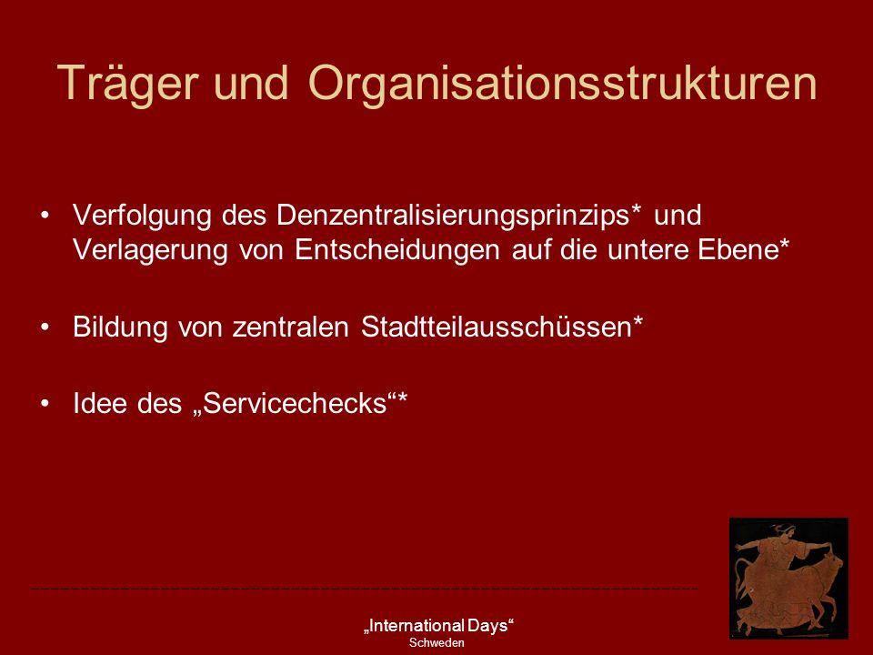 International Days Schweden Träger und Organisationsstrukturen Verfolgung des Denzentralisierungsprinzips* und Verlagerung von Entscheidungen auf die