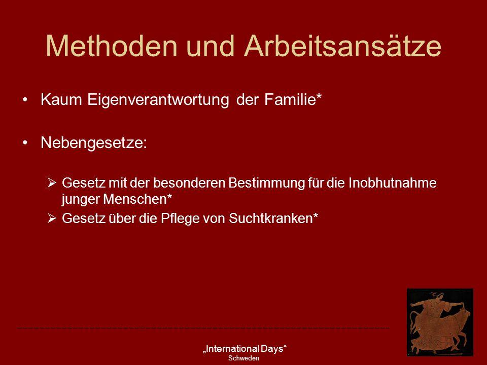 International Days Schweden Methoden und Arbeitsansätze Kaum Eigenverantwortung der Familie* Nebengesetze: Gesetz mit der besonderen Bestimmung für di