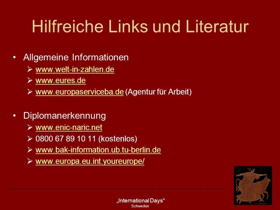 International Days Schweden Hilfreiche Links und Literatur Allgemeine Informationen www.welt-in-zahlen.de www.eures.de www.europaserviceba.de (Agentur
