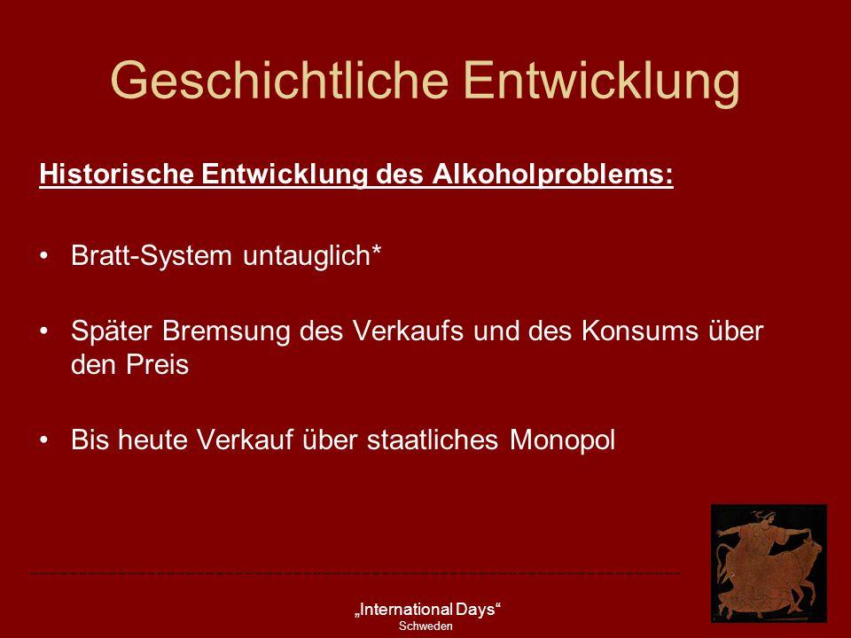 International Days Schweden Geschichtliche Entwicklung Historische Entwicklung des Alkoholproblems: Bratt-System untauglich* Später Bremsung des Verka
