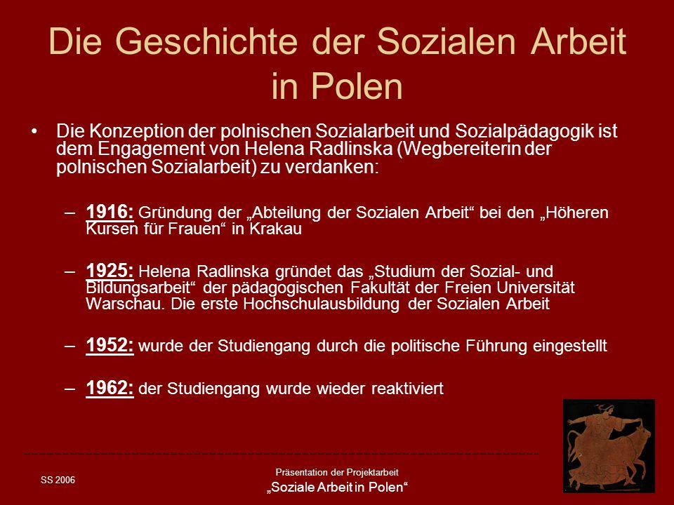 SS 2006 Präsentation der Projektarbeit Soziale Arbeit in Polen Die Geschichte der Sozialen Arbeit in Polen Die Konzeption der polnischen Sozialarbeit