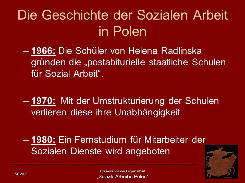 SS 2006 Präsentation der Projektarbeit Soziale Arbeit in Polen Die Geschichte der Sozialen Arbeit in Polen –1966: Die Schüler von Helena Radlinska grü