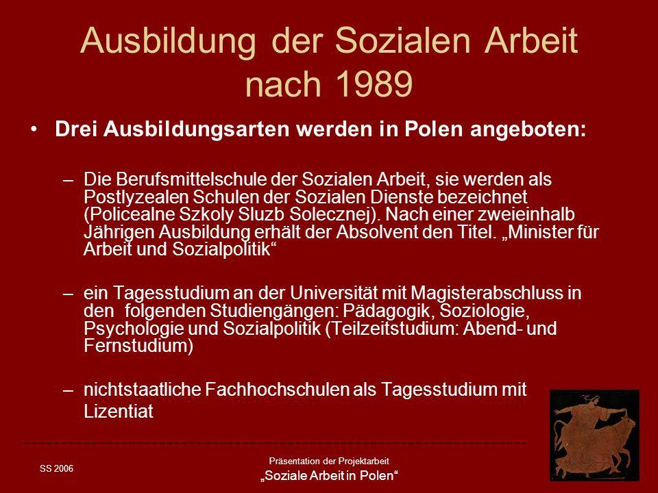 SS 2006 Präsentation der Projektarbeit Soziale Arbeit in Polen Ausbildung der Sozialen Arbeit nach 1989 Drei Ausbildungsarten werden in Polen angebote