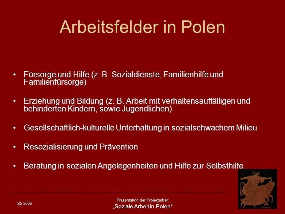 SS 2006 Präsentation der Projektarbeit Soziale Arbeit in Polen Arbeitsfelder in Polen Fürsorge und Hilfe (z. B. Sozialdienste, Familienhilfe und Famil