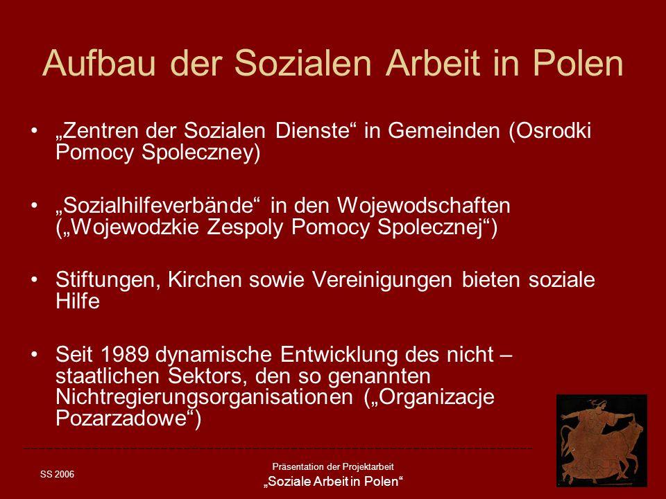 SS 2006 Präsentation der Projektarbeit Soziale Arbeit in Polen Aufbau der Sozialen Arbeit in Polen Zentren der Sozialen Dienste in Gemeinden (Osrodki