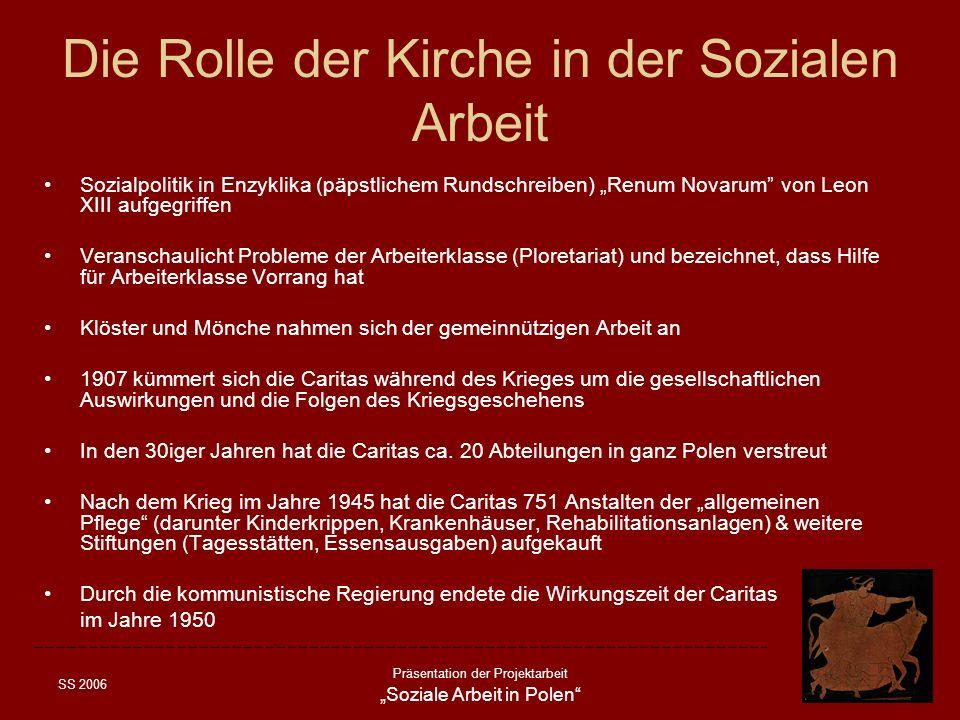 SS 2006 Präsentation der Projektarbeit Soziale Arbeit in Polen Die Rolle der Kirche in der Sozialen Arbeit Sozialpolitik in Enzyklika (päpstlichem Run