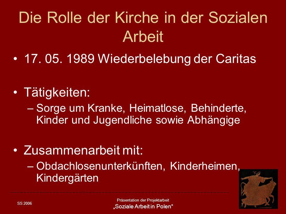 SS 2006 Präsentation der Projektarbeit Soziale Arbeit in Polen Die Rolle der Kirche in der Sozialen Arbeit 17. 05. 1989 Wiederbelebung der Caritas Tät