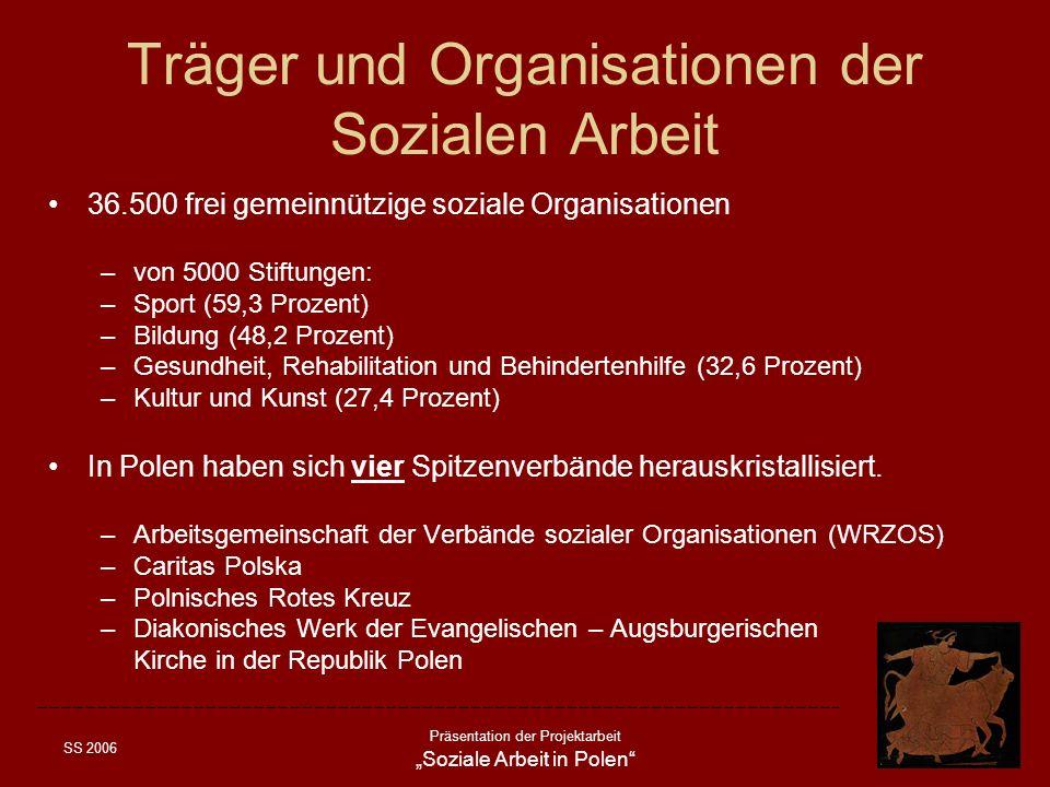 SS 2006 Präsentation der Projektarbeit Soziale Arbeit in Polen Träger und Organisationen der Sozialen Arbeit 36.500 frei gemeinnützige soziale Organis