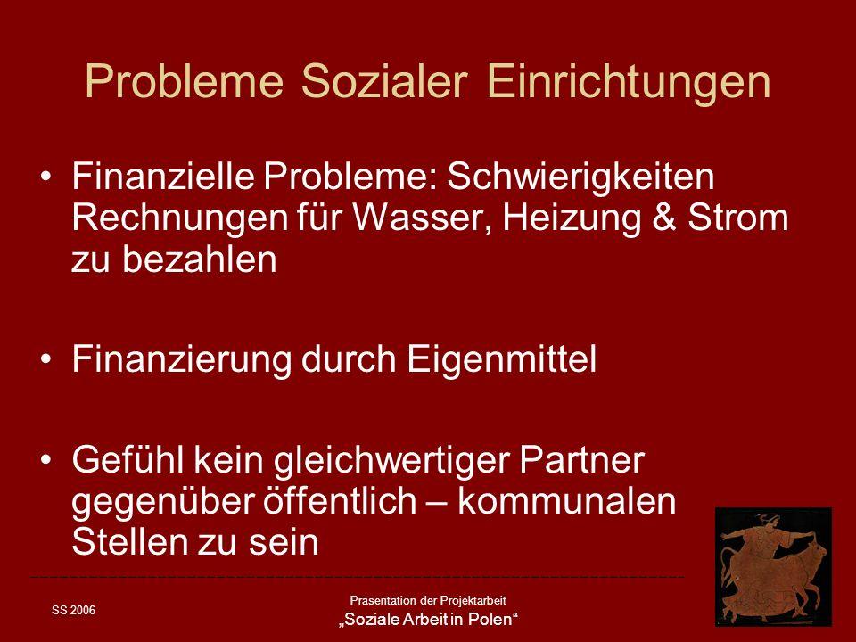 SS 2006 Präsentation der Projektarbeit Soziale Arbeit in Polen Probleme Sozialer Einrichtungen Finanzielle Probleme: Schwierigkeiten Rechnungen für Wa