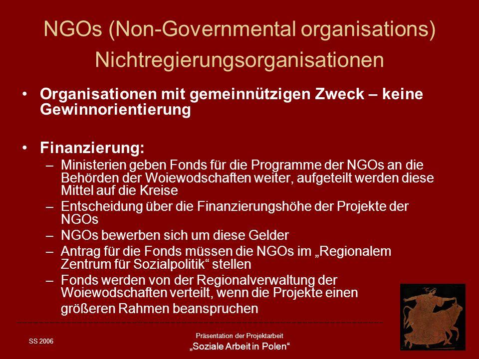 SS 2006 Präsentation der Projektarbeit Soziale Arbeit in Polen NGOs (Non-Governmental organisations) Nichtregierungsorganisationen Organisationen mit