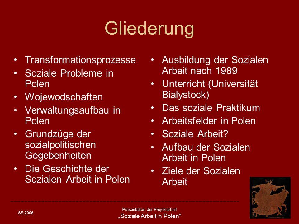 SS 2006 Präsentation der Projektarbeit Soziale Arbeit in Polen Gliederung Transformationsprozesse Soziale Probleme in Polen Wojewodschaften Verwaltung