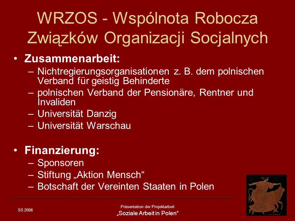 SS 2006 Präsentation der Projektarbeit Soziale Arbeit in Polen WRZOS - Wspólnota Robocza Związków Organizacji Socjalnych Zusammenarbeit: –Nichtregieru