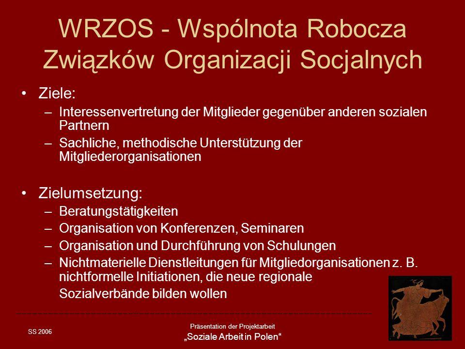 SS 2006 Präsentation der Projektarbeit Soziale Arbeit in Polen WRZOS - Wspólnota Robocza Związków Organizacji Socjalnych Ziele: –Interessenvertretung