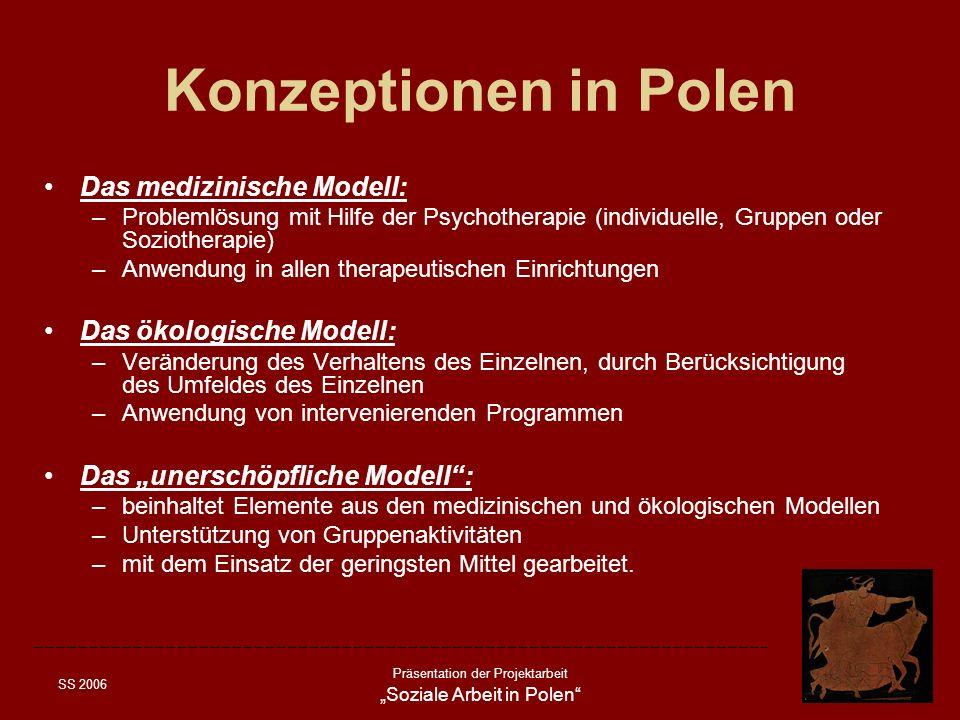 SS 2006 Präsentation der Projektarbeit Soziale Arbeit in Polen Konzeptionen in Polen Das medizinische Modell: –Problemlösung mit Hilfe der Psychothera