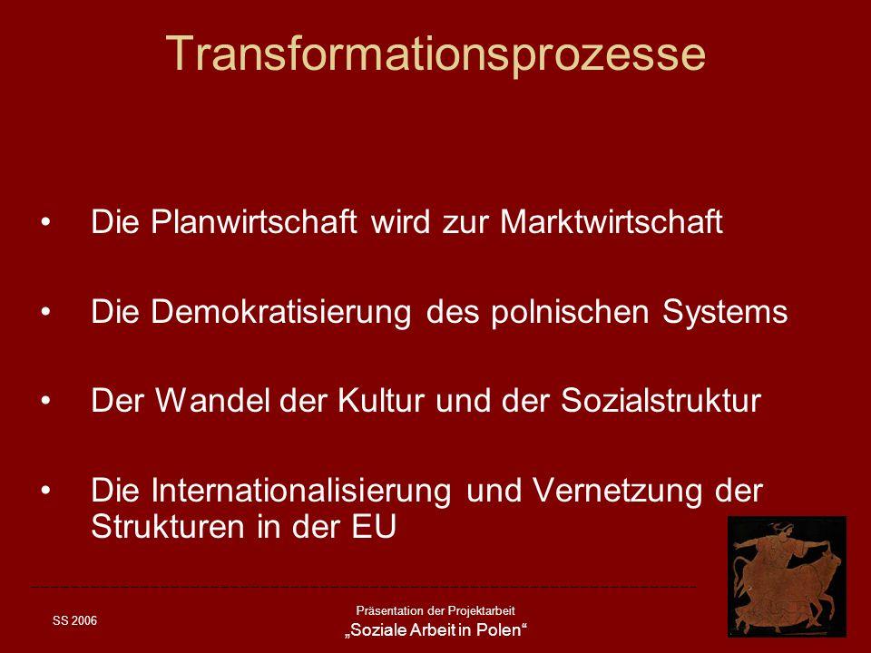 SS 2006 Präsentation der Projektarbeit Soziale Arbeit in Polen Transformationsprozesse Die Planwirtschaft wird zur Marktwirtschaft Die Demokratisierun