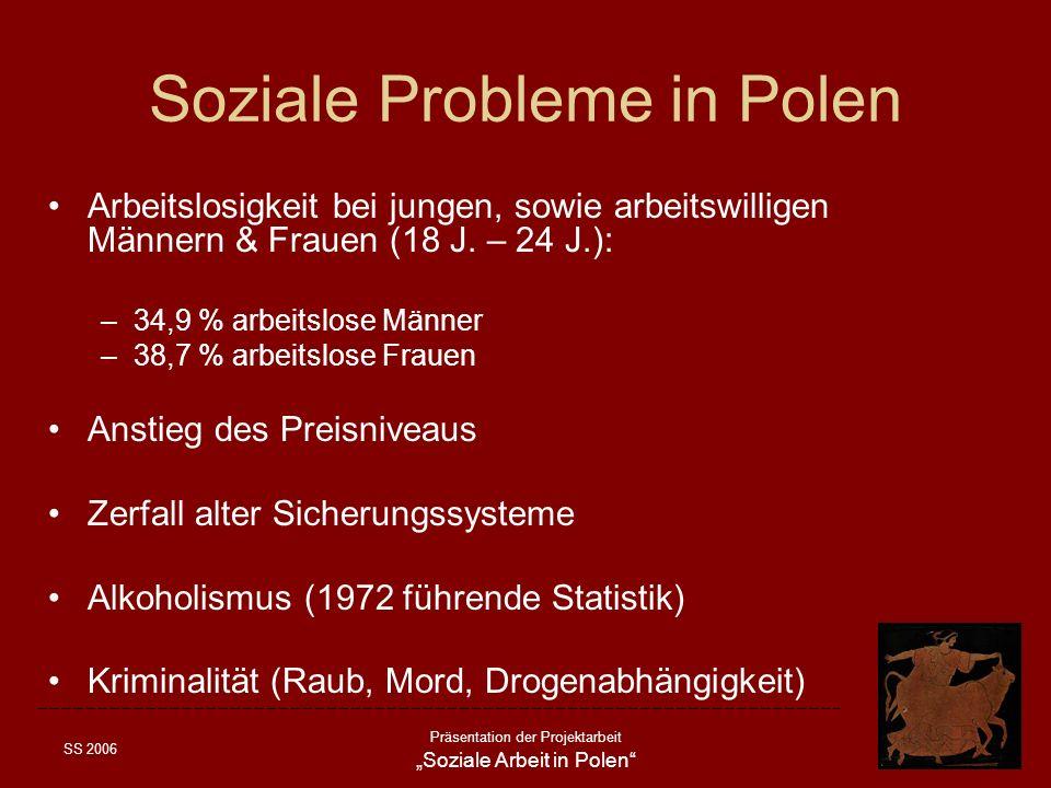 SS 2006 Präsentation der Projektarbeit Soziale Arbeit in Polen Probleme Sozialer Einrichtungen Finanzielle Probleme: Schwierigkeiten Rechnungen für Wasser, Heizung & Strom zu bezahlen Finanzierung durch Eigenmittel Gefühl kein gleichwertiger Partner gegenüber öffentlich – kommunalen Stellen zu sein