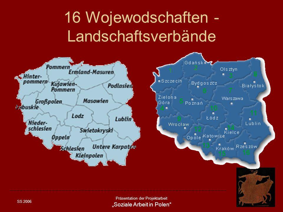 SS 2006 Präsentation der Projektarbeit Soziale Arbeit in Polen Verwaltungsaufbau in Polen: Gemeinde – gmina Kreis - powiat Wojewoschaft – wojewodstwo (16) Staat – panstwo