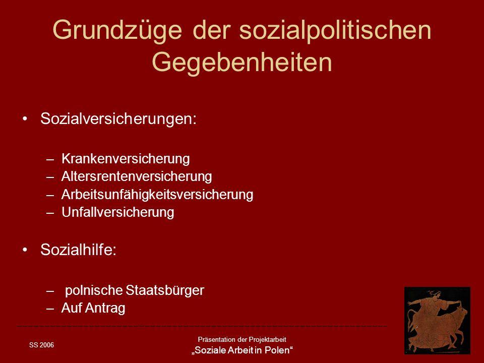 SS 2006 Präsentation der Projektarbeit Soziale Arbeit in Polen Grundzüge der sozialpolitischen Gegebenheiten Sozialversicherungen: –Krankenversicherun