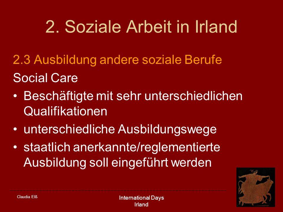 Claudia Elß International Days Irland 2. Soziale Arbeit in Irland 2.3 Ausbildung andere soziale Berufe Social Care Beschäftigte mit sehr unterschiedli
