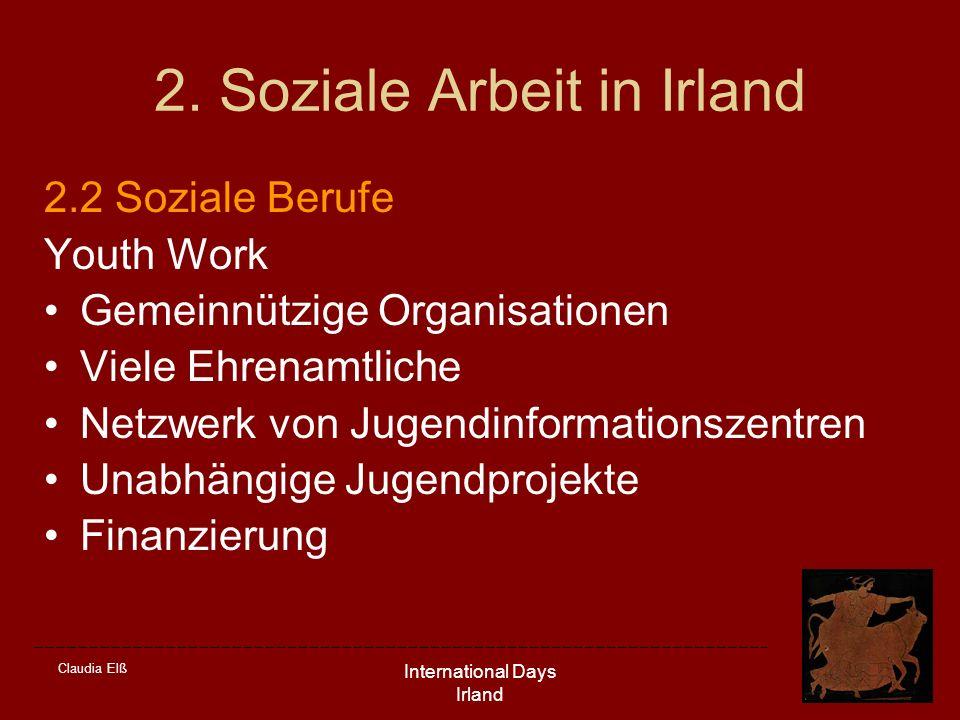Claudia Elß International Days Irland 2. Soziale Arbeit in Irland 2.2 Soziale Berufe Youth Work Gemeinnützige Organisationen Viele Ehrenamtliche Netzw