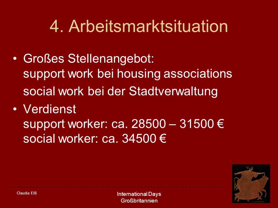 Claudia Elß International Days Großbritannien 4. Arbeitsmarktsituation Großes Stellenangebot: support work bei housing associations social work bei de