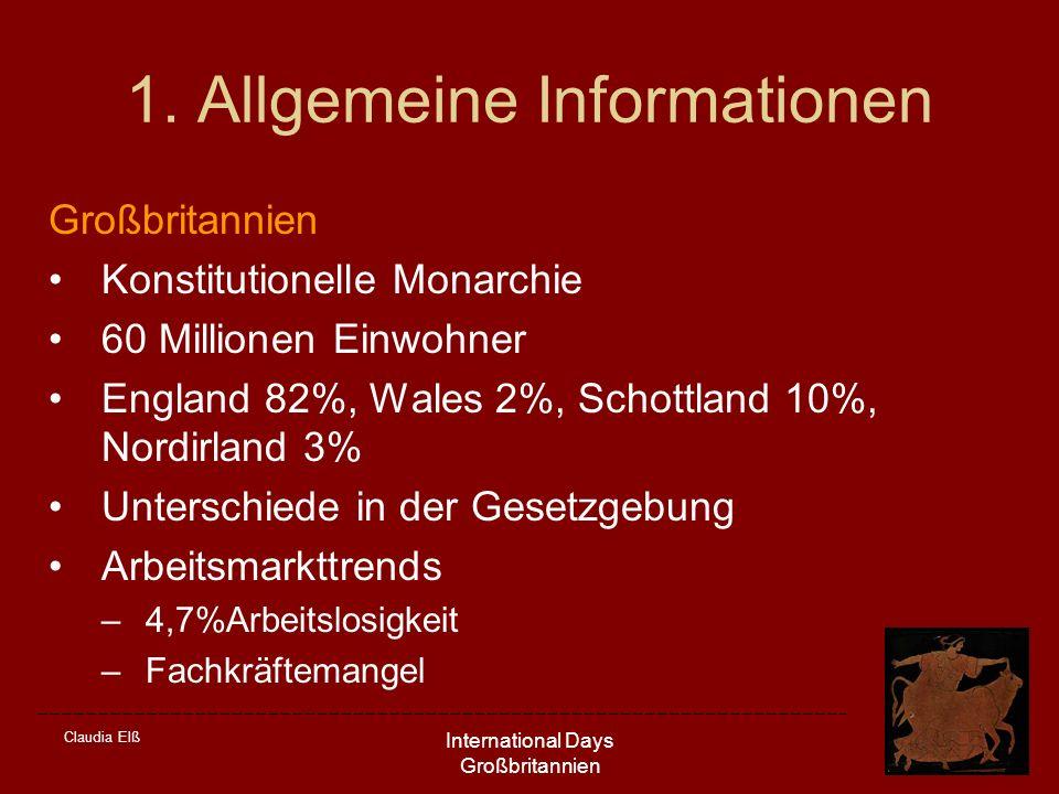 Claudia Elß International Days Großbritannien 1. Allgemeine Informationen Großbritannien Konstitutionelle Monarchie 60 Millionen Einwohner England 82%