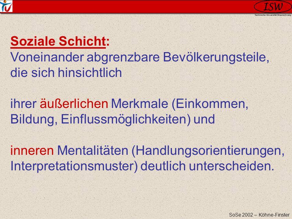 SoSe 2002 – Köhne-Finster Soziale Schicht: Voneinander abgrenzbare Bevölkerungsteile, die sich hinsichtlich ihrer äußerlichen Merkmale (Einkommen, Bil