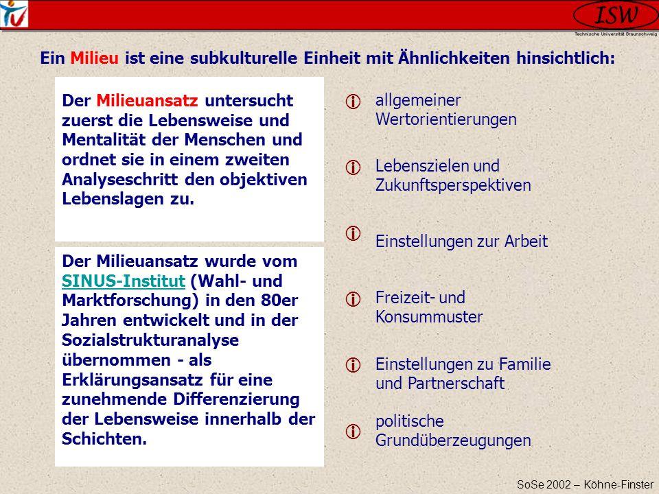SoSe 2002 – Köhne-Finster allgemeiner Wertorientierungen Lebenszielen und Zukunftsperspektiven Einstellungen zur Arbeit Freizeit- und Konsummuster Ein