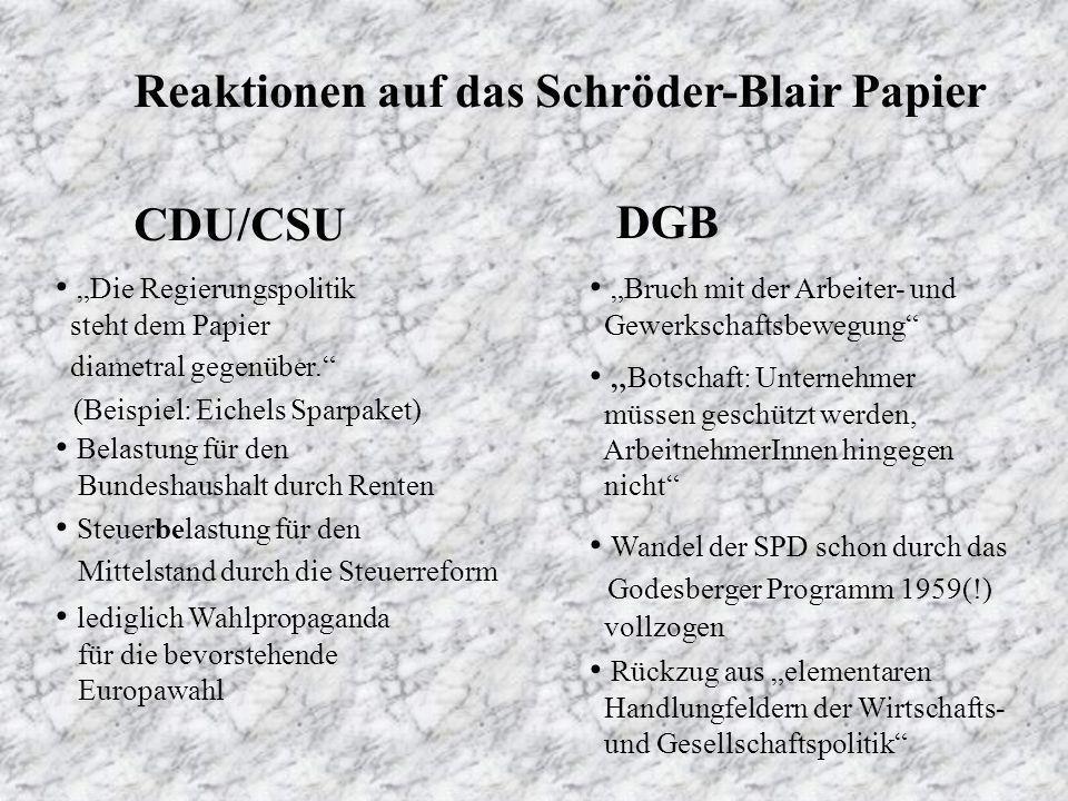 Reaktionen auf das Schröder-Blair Papier CDU/CSU DGB Die Regierungspolitik steht dem Papier diametral gegenüber.