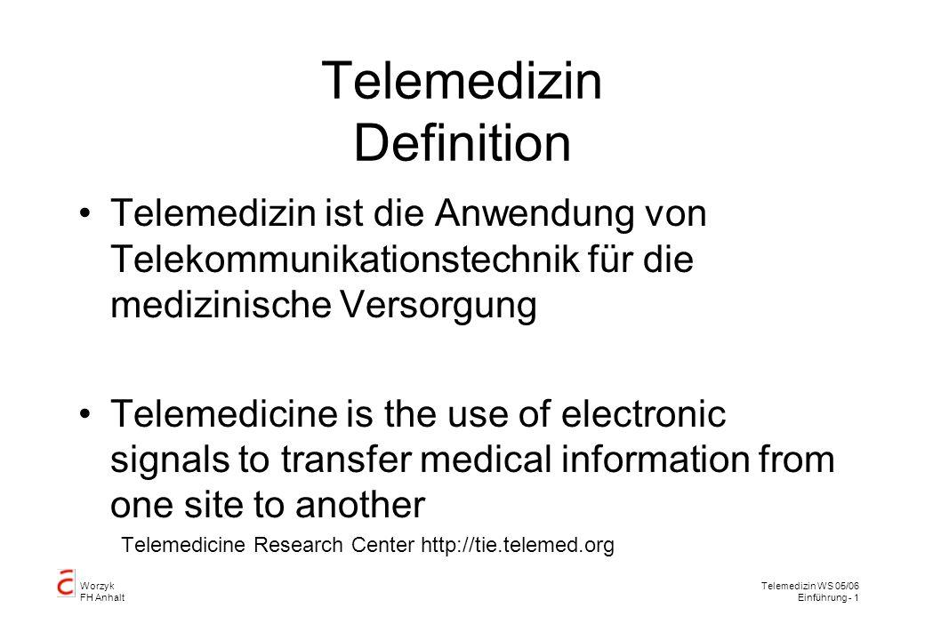 Worzyk FH Anhalt Telemedizin WS 05/06 Einführung - 2 Telemedizin Definition Telemedizin ist die Untersuchung, Überwachung und Behandlung von Patienten und die Erziehung beziehungsweise Ausbildung von Patienten und Personal mit Hilfe von Systemen, die unabhängig vom Aufenthaltsort des Patienten den schnellen Zugriff auf Ratschläge von Experten zulassen.