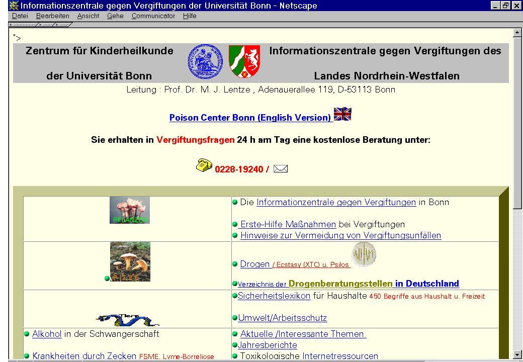 Worzyk FH Anhalt Telemedizin WS 05/06 Einführung - 10 Informationszentrale gegen Vergiftungen http://www.meb.uni-bonn.de/giftzentrale/Jahresbericht_2004.pdf