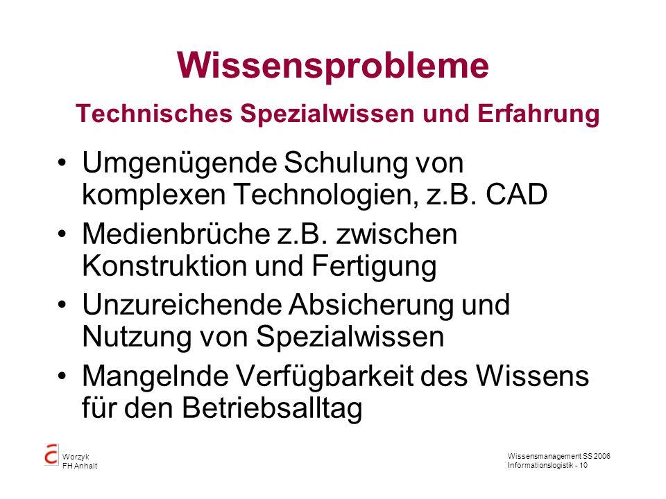 Wissensmanagement SS 2006 Informationslogistik - 10 Worzyk FH Anhalt Wissensprobleme Technisches Spezialwissen und Erfahrung Umgenügende Schulung von