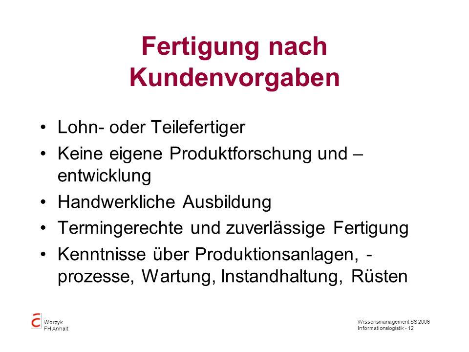 Wissensmanagement SS 2006 Informationslogistik - 12 Worzyk FH Anhalt Fertigung nach Kundenvorgaben Lohn- oder Teilefertiger Keine eigene Produktforsch