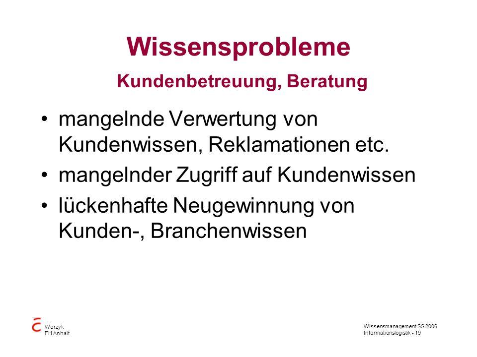 Wissensmanagement SS 2006 Informationslogistik - 19 Worzyk FH Anhalt Wissensprobleme Kundenbetreuung, Beratung mangelnde Verwertung von Kundenwissen,