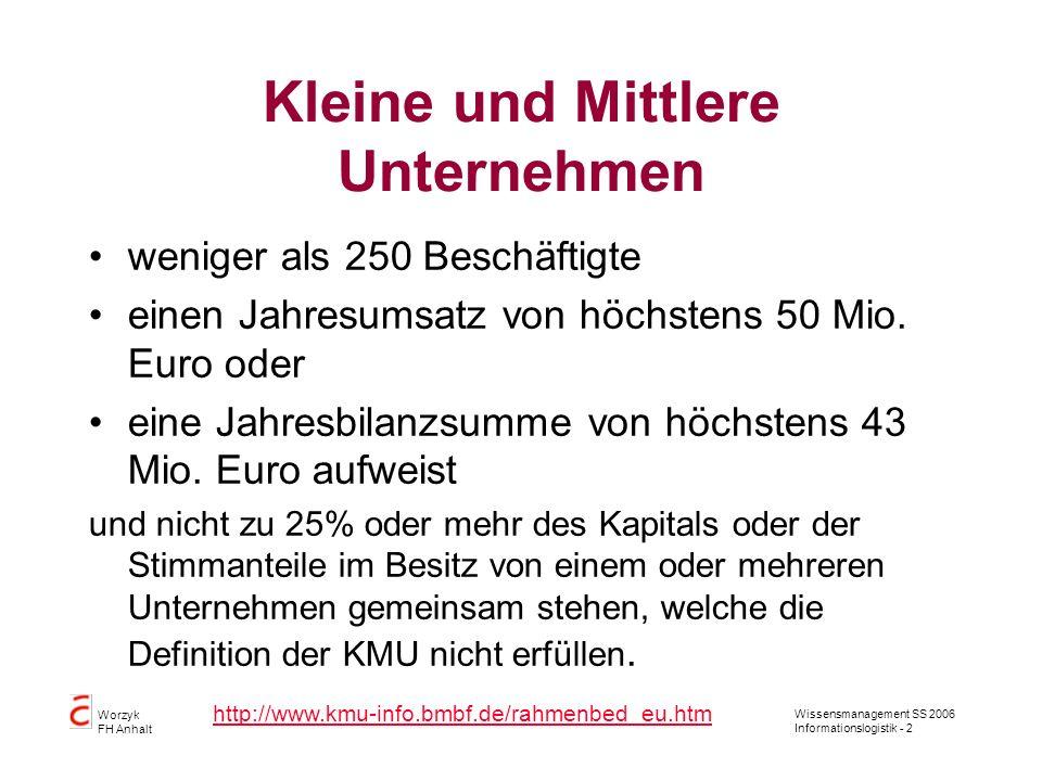 Wissensmanagement SS 2006 Informationslogistik - 2 Worzyk FH Anhalt Kleine und Mittlere Unternehmen weniger als 250 Beschäftigte einen Jahresumsatz vo