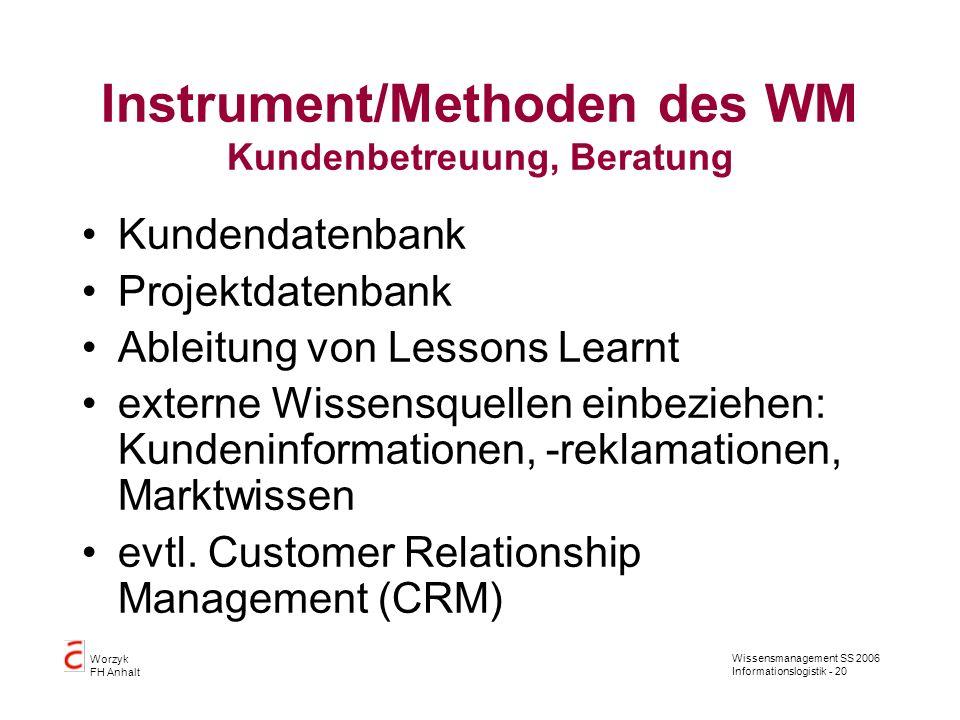 Wissensmanagement SS 2006 Informationslogistik - 20 Worzyk FH Anhalt Instrument/Methoden des WM Kundenbetreuung, Beratung Kundendatenbank Projektdaten