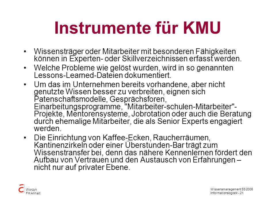 Wissensmanagement SS 2006 Informationslogistik - 21 Worzyk FH Anhalt Instrumente für KMU Wissensträger oder Mitarbeiter mit besonderen Fähigkeiten kön