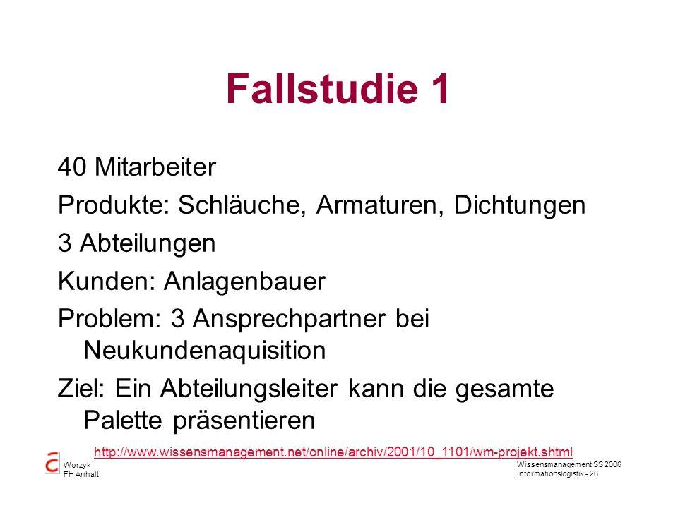 Wissensmanagement SS 2006 Informationslogistik - 26 Worzyk FH Anhalt Fallstudie 1 40 Mitarbeiter Produkte: Schläuche, Armaturen, Dichtungen 3 Abteilun