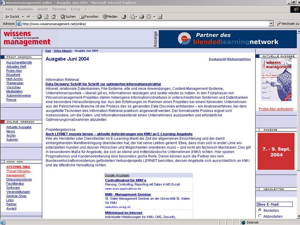 Wissensmanagement SS 2006 Informationslogistik - 3 Worzyk FH Anhalt