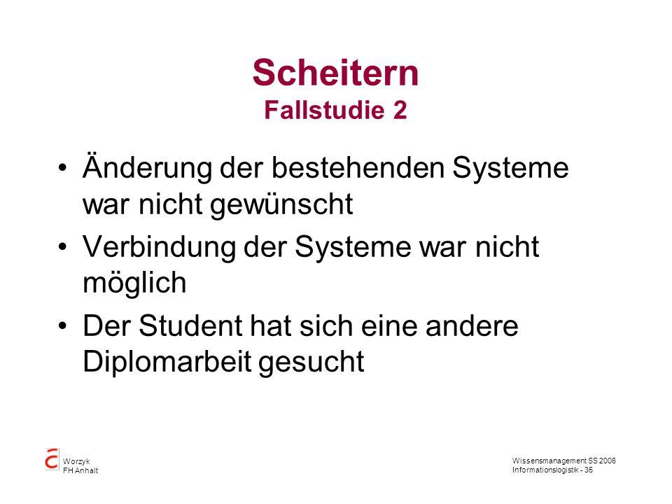 Wissensmanagement SS 2006 Informationslogistik - 35 Worzyk FH Anhalt Scheitern Fallstudie 2 Änderung der bestehenden Systeme war nicht gewünscht Verbi