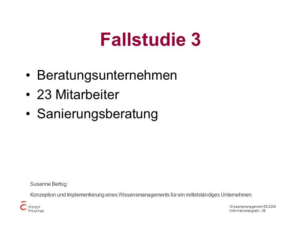 Wissensmanagement SS 2006 Informationslogistik - 36 Worzyk FH Anhalt Fallstudie 3 Beratungsunternehmen 23 Mitarbeiter Sanierungsberatung Susanne Berbi