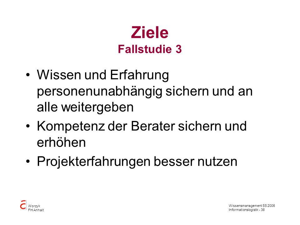Wissensmanagement SS 2006 Informationslogistik - 38 Worzyk FH Anhalt Ziele Fallstudie 3 Wissen und Erfahrung personenunabhängig sichern und an alle we