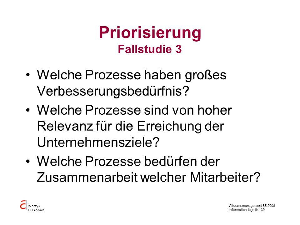 Wissensmanagement SS 2006 Informationslogistik - 39 Worzyk FH Anhalt Priorisierung Fallstudie 3 Welche Prozesse haben großes Verbesserungsbedürfnis? W