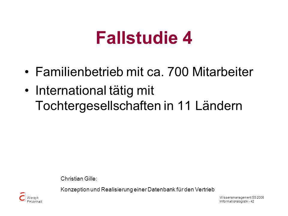 Wissensmanagement SS 2006 Informationslogistik - 42 Worzyk FH Anhalt Fallstudie 4 Familienbetrieb mit ca. 700 Mitarbeiter International tätig mit Toch