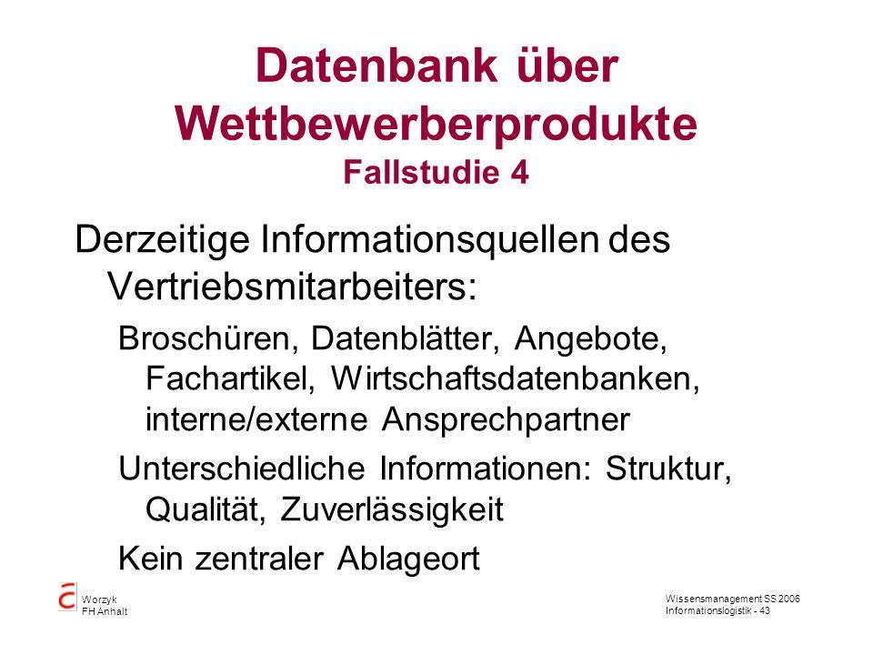 Wissensmanagement SS 2006 Informationslogistik - 43 Worzyk FH Anhalt Datenbank über Wettbewerberprodukte Fallstudie 4 Derzeitige Informationsquellen d