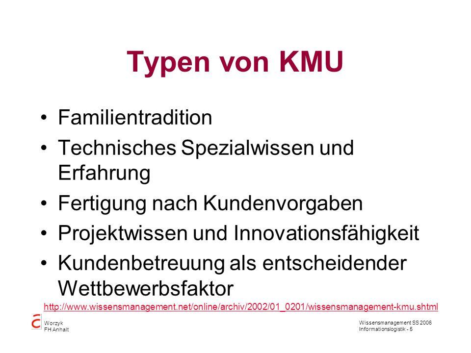 Wissensmanagement SS 2006 Informationslogistik - 5 Worzyk FH Anhalt Typen von KMU Familientradition Technisches Spezialwissen und Erfahrung Fertigung