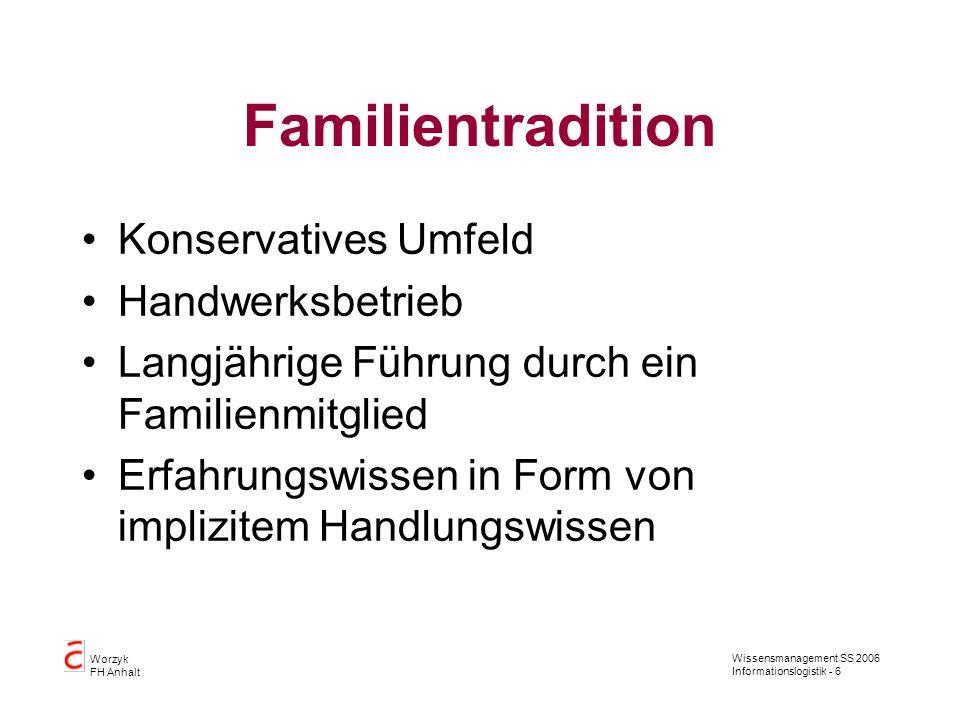 Wissensmanagement SS 2006 Informationslogistik - 6 Worzyk FH Anhalt Familientradition Konservatives Umfeld Handwerksbetrieb Langjährige Führung durch