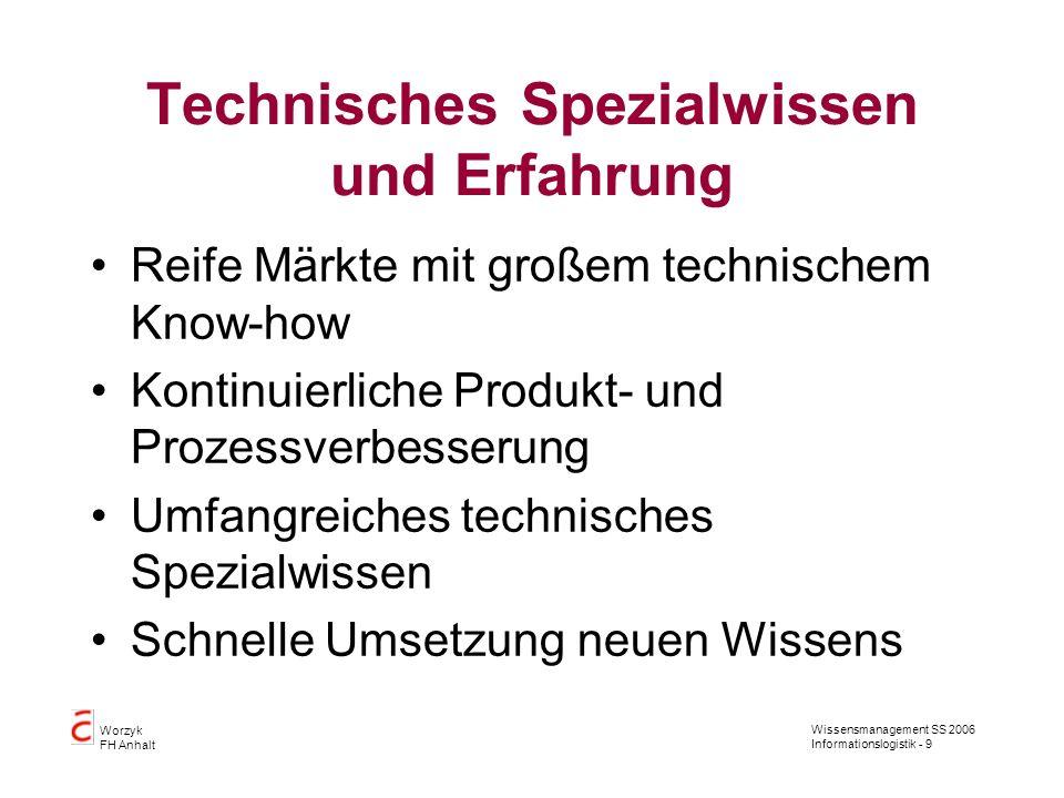 Wissensmanagement SS 2006 Informationslogistik - 9 Worzyk FH Anhalt Technisches Spezialwissen und Erfahrung Reife Märkte mit großem technischem Know-h