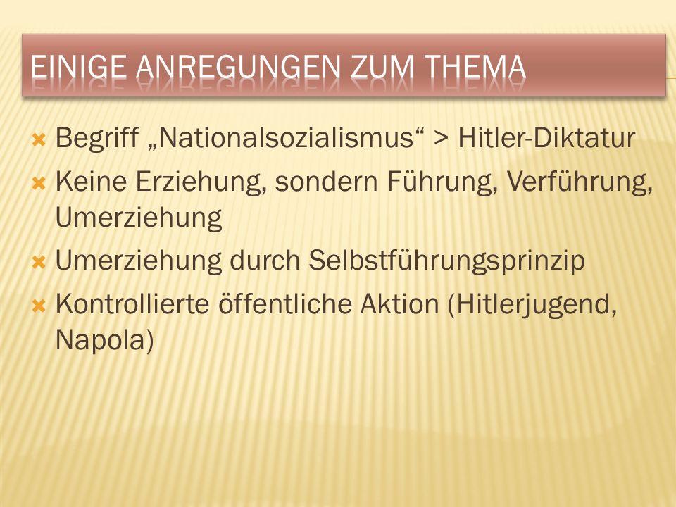 Begriff Nationalsozialismus > Hitler-Diktatur Keine Erziehung, sondern Führung, Verführung, Umerziehung Umerziehung durch Selbstführungsprinzip Kontrollierte öffentliche Aktion (Hitlerjugend, Napola)