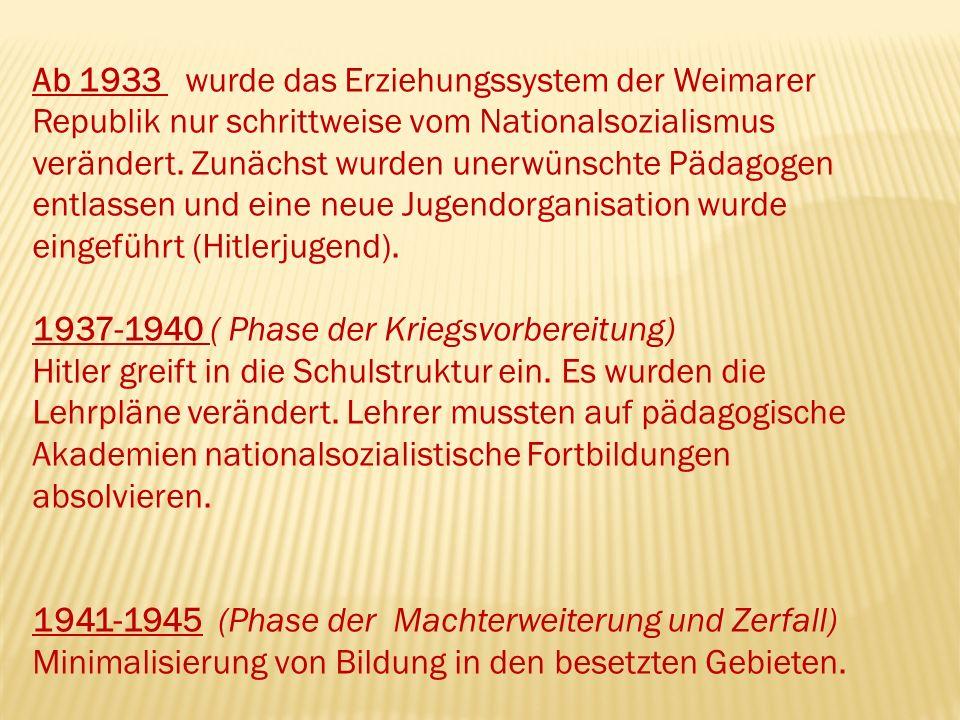 Ab 1933 wurde das Erziehungssystem der Weimarer Republik nur schrittweise vom Nationalsozialismus verändert.